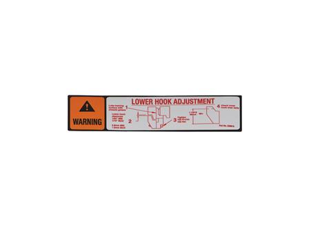 Lower Hook Adjustment Label