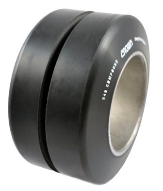 Polyurethane Tire, 9x5x5, Center Groove, Compound: 243
