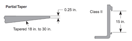 Fork, ITA Class II, 42 in., 3000 lb. Capacity, Partial Taper, No Tip Indicators