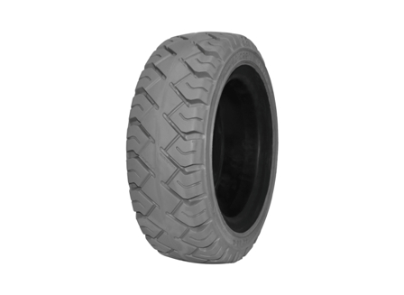 Tire, Solid Resilient, 140/55-9, Compound: 497, Non-Marking Grey