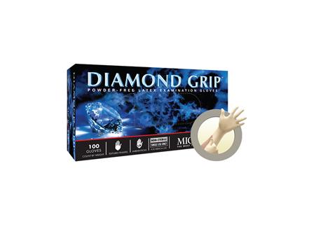 Diamond Grip Latex Gloves, Natural, 100PK