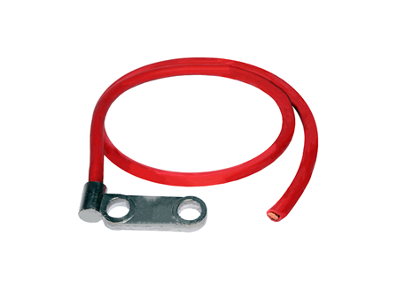 Standard Cable Assembly, Offset Two Hole Posts, 3.00 in., Red, Gauge: 3/0