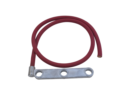 Standard Cable Assembly, Offset Three Hole Posts, 3.75 in., Red, Gauge: 4/0