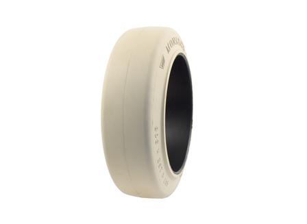 Tire, Rubber, 18x6x12.125, Smooth, Non-Marking Cream
