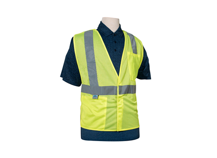 Safety Vest, Class 2 Breakaway, Medium, High Visibility Green, Mesh, Crown Branded