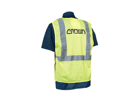Safety Vest, Class 2 Breakaway, Large, High Visibility Green, Mesh, Crown Branded
