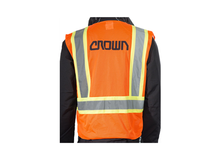 Safety Vest, Class 2 Zippered, Medium, High Visibility Orange, Crown Branded
