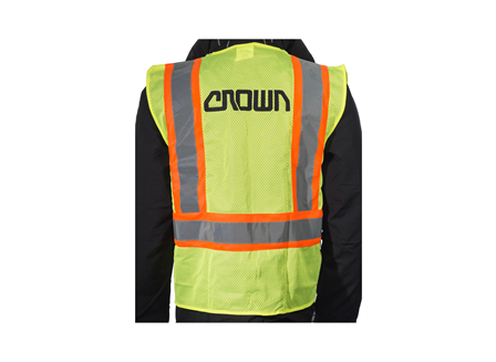 Safety Vest, Class 2 Zippered, Large, High Visibility Green, Crown Branded
