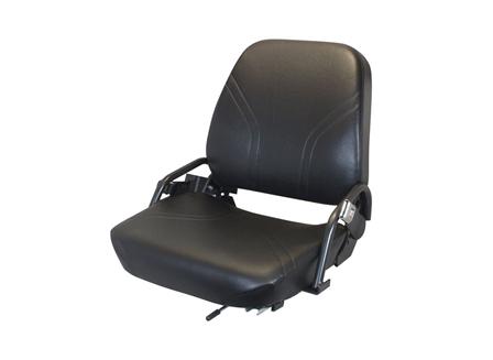 Forklift Seat, Contoured Pan, Adjustable Back, Retractable Seat Belt, Vinyl