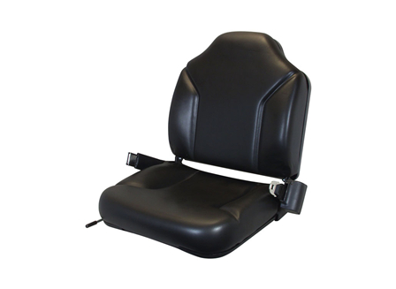 Forklift Seat, Contoured and Adjustable Back, Retractable Seat Belt, Vinyl